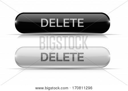 Delete button. Black and white oval glass 3d icons. Vector illustration isolated on white background