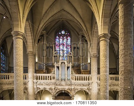 Grand Duchy of Luxembourg Luxembourg- January 032017: Notre-Dame Chatnedral. Organ