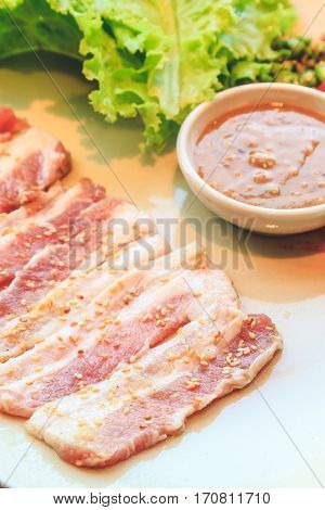 Raw pork slice for barbecue Japanese food Yakiniku