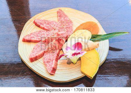 Raw beef slice for barbecue Japanese food Yakiniku