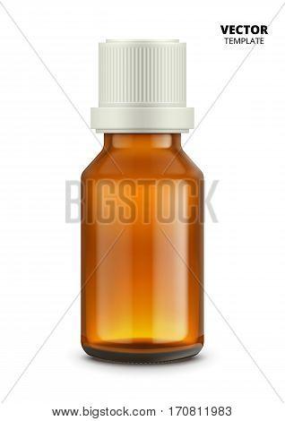 Medical bottle isolated on white background. Glass bottle vector mockup for design presentation ads. Medical bottle mockup. Pharmacy glass bottle for medicine or drugs