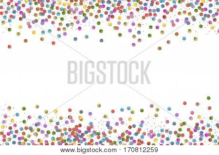 Multicolored round confetti splash isolated on white background. Colorful Party Background with round Confetti. Vector illustration