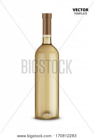 Wine bottle glass mockup vector isolated on white background. Bottle for design presentation ads. Wine bottle glass template. Design of vector wine bottle. Original form bottle for design wine packaging or wine label.