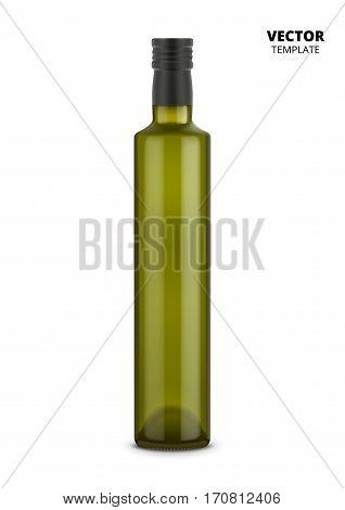 Wine bottle vector isolated on white background. Glass bottle mockup for design presentation ads.