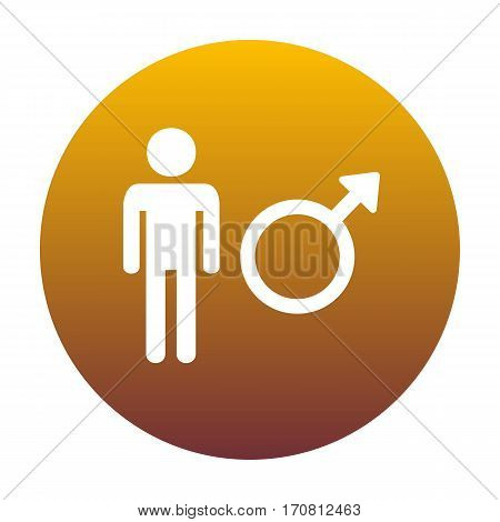 Male sign illustration. White icon in circle with golden gradient as background. Isolated.