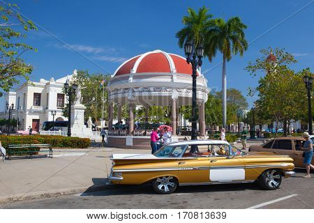Cienfuegos Cuba - January 28 2017: Jose Marti Park the main square of Cienfuegos (UNESCO World Heritage) Cuba. Cienfuegos capital of Cienfuegos Province is a city on the southern coast of Cuba.