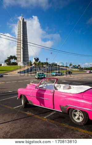 Havana Cuba - January 222017: Jose Marti monument on Revolution square. It is 109 m high and is one of the tallest buildings in Cuba.