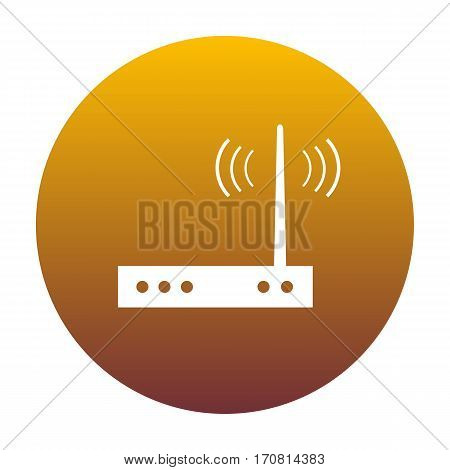 Wifi modem sign. White icon in circle with golden gradient as background. Isolated.