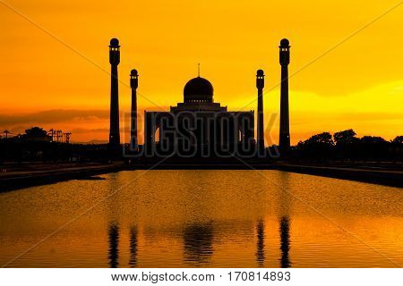 Landscape of Center Mosque Songkhla in evening Thailand.