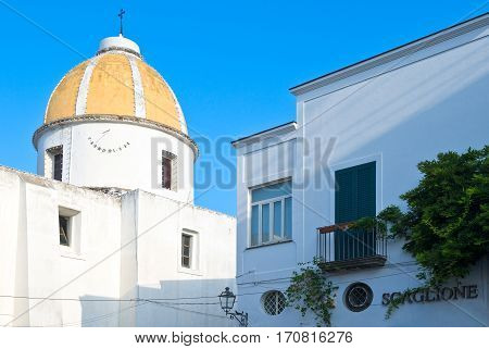 Ischia Italy - October 17 2008: A dome with sundial in the Forio village
