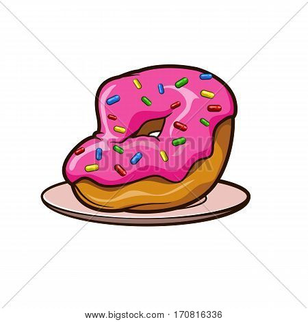 donut in pink frosting with sprinkles on a plate icon