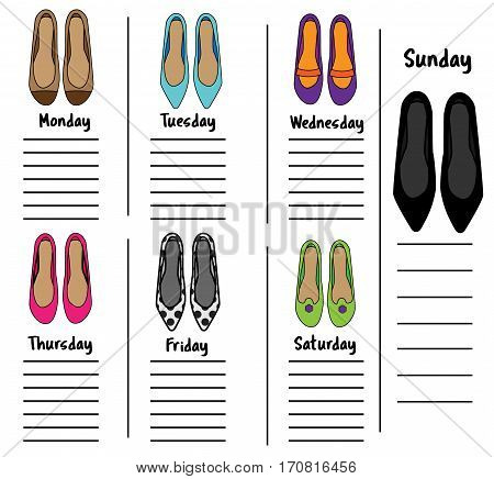 Woman weekly daily planner template with fashionable shoes. Organizer diary schedule with notes for females. Time management printable