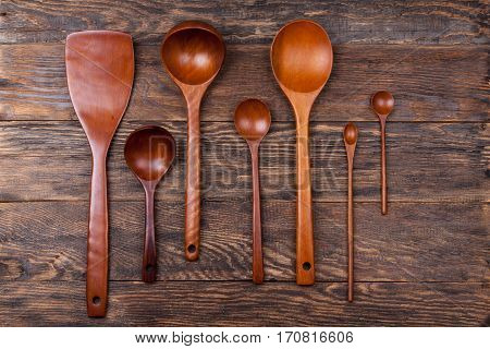 Assorted Wooden Tableware On Wooden Table