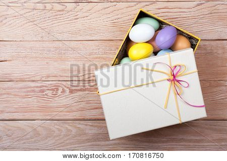 Colorful Easter Eggs Decorated In Beautiful Giftbox