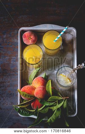 Peaches On Branch And Juice