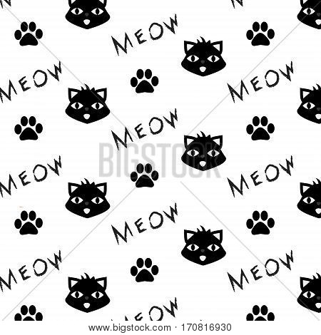 Vector pattern with cat paw prints and meow word. Printable monochrome black and white background