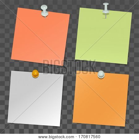 Set of paper stickers for notes and pushpin on transparent background. Illustration in vector format