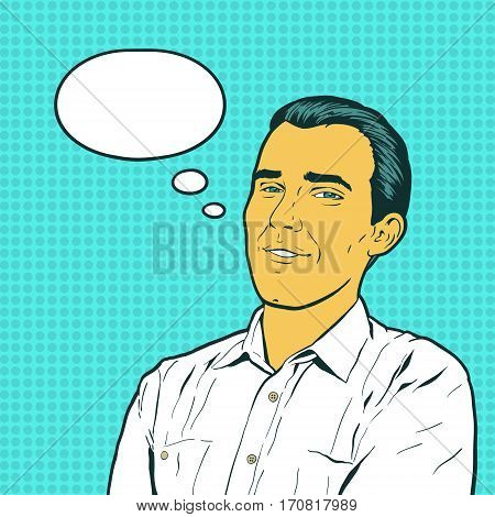Emotional reaction men pop art comics retro style. The man who thinks about something good. Flirting handsome. Vintage vector illustration.