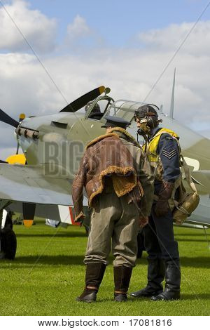Modern representation of a 1940 airfield during the Battle of Britain complete with pilots and a genuine Hawker Hurricane