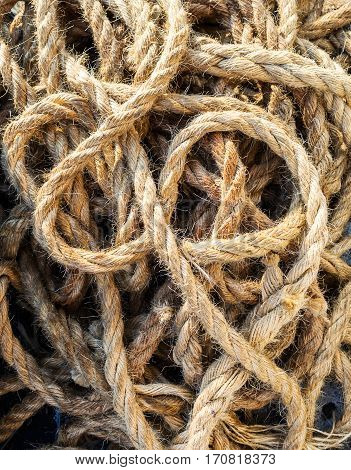 Marine rope, the rope on the pier in Venice, Italy