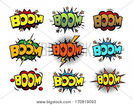 Comic boom sound speech bubbles, explosion blast and detonation funny icons, halftone print texture