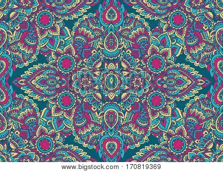 Vector seamless pattern with hand drawn henna mehndi floral elements. Beautiful colorful endless background in oriental indian style in bright colors