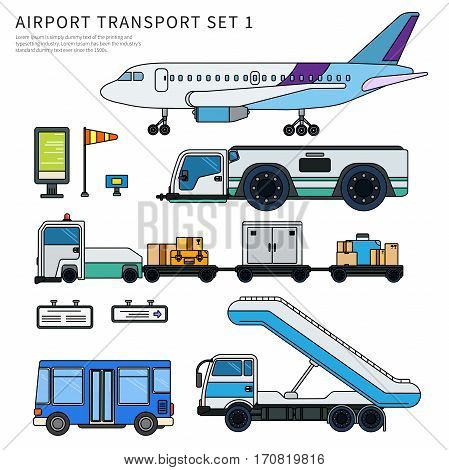 Thin line flat design of airport transport. Types of transport working on the airfield. Aircraft, luggage car, ladder and passengers bus isolated on white background