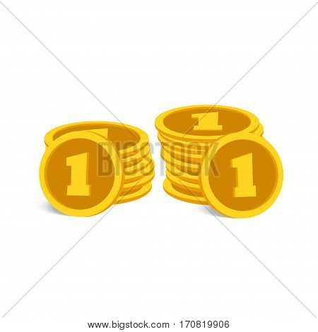 Two stacks of gold coins on a white background
