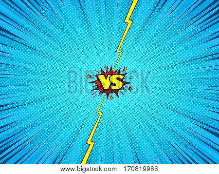 Comic cartoon versus background, superhero fight action intro, halftone print effect texture