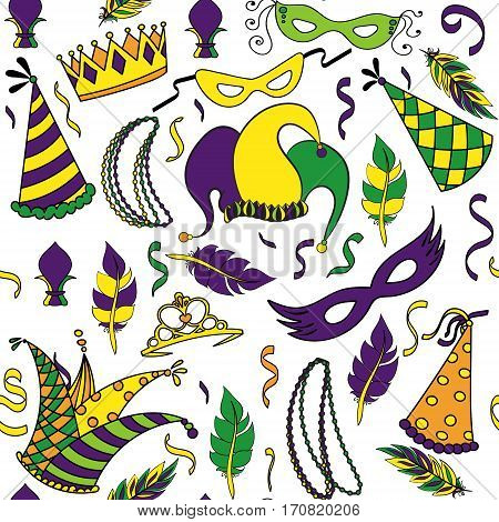 Mardi Gras seamless pattern. Colorful background with carnival mask and hats, jester s hat, crowns, fleur de lis, feathers and ribbons. Vector illustration