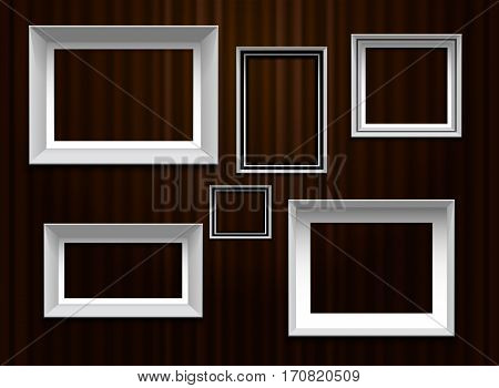 frames border set on curtian wall background vector