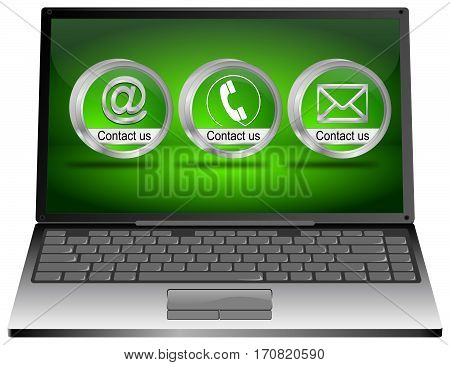 Laptop with contact us button - 3D illustration