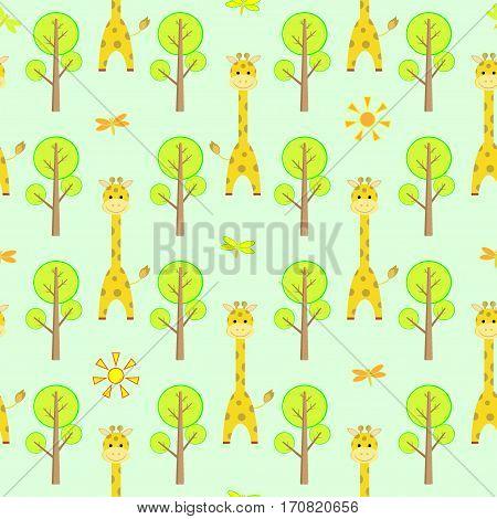 Seamless children pattern with cute cartoon giraffe, baobab, dragonfly, sun vector illustration