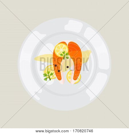 Salted red fish with lime slice on light background. Fresh meat plate healthy fillet meal dinner vector. Gourmet food diet ingredient portion prepared.