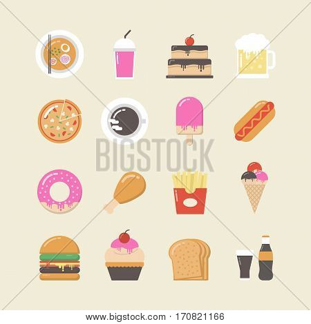 set of fast food and junk food icon set retro style