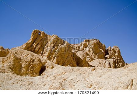 A distinctive rock formation in the Valley of the Queens part of the Western Desert of Egypt near Luxor.