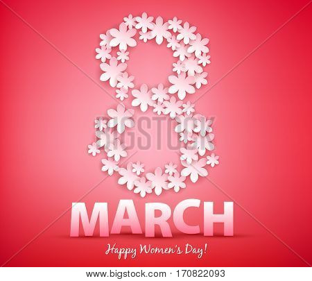 8 march women's day background greeting card with paper flowers. International lady's holiday design template.
