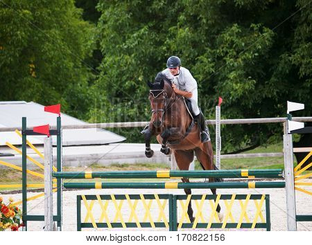 Horse with rider jump over the hurdle during competition