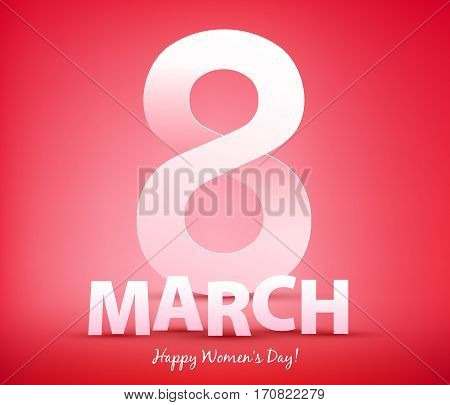 8 march women's day background greeting card with paper cur letters. International lady's holiday design template.