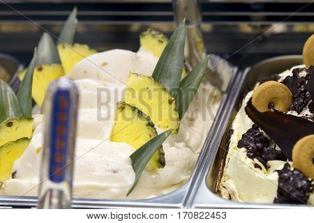 pineapple and biscuit ice cream  in showcase ready for sale