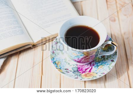 Cozy Home Still Life: Cup Of Hot Coffee Or Tea And Opened Book