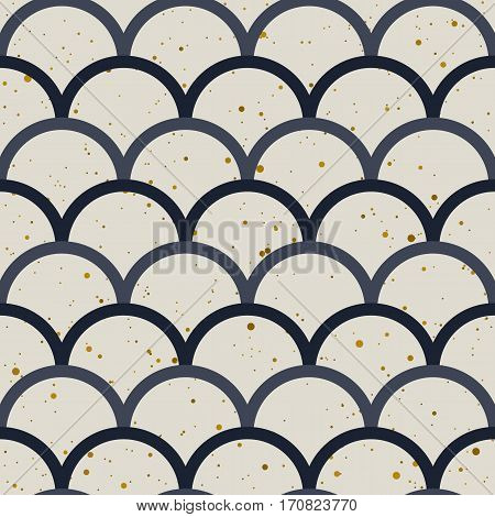 Abstract seamless pattern. Japanese style, fish scale. Gold splash, indigo and white colors. Vector design for fabric, wallpaper and wrap.