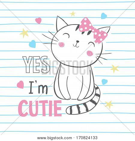 Cute kitty. T-shirt graphic for kid's clothing. Use for print design surface design fashion kids wear