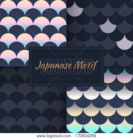 Seamless patterns set. Japanese style. Gradient fish scale. Indigo, and golden, silver colors. Vector design for fabric, wallpaper and wrap.