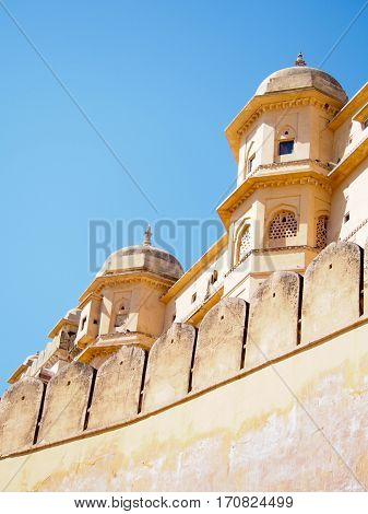 Detail of a building at the Amber Fort in Jaipur India.