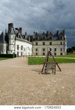 An easel has been set up in front of the Amboise Chateau in France.