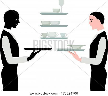Waiters With A Tray