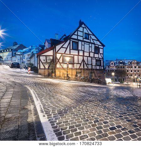 Winter night landscape of Nuremberg, Bavaria, Germany
