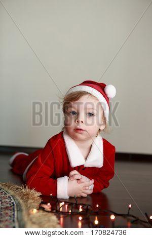 Christmas Kid In Santa Hat