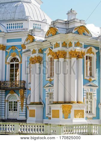 The ornate hermitage building at Tsarskoe Selo in Pushkin outside of Saint Petersburg Russia.
